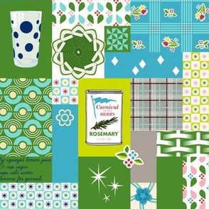 Dinette (Custom Green Wallpaper) || vintage style cheater quilt tablecloth kitchen spice herb glassware atomic midcentury modern potholder polka dot picnic basket plaid geometric flower floral patchwork star