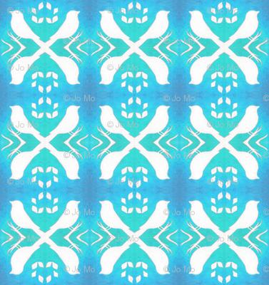 White Birds on Blue