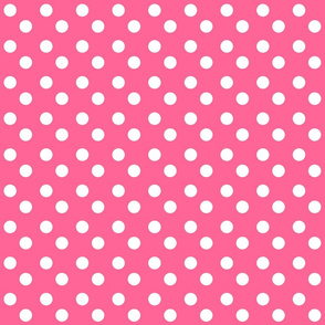 polka dots MEDIUM 2x2 -watermelon pink  white