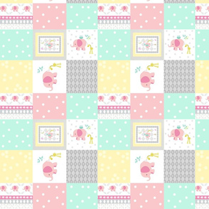 Elephant friends pink SMALL - cheaters quilt minty pink polka dot
