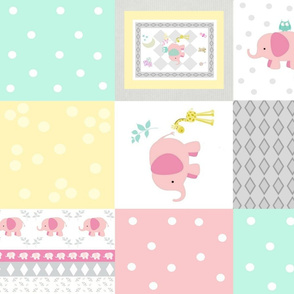 Elephant friends pink 42 - cheaters quilt minty pink polka dot