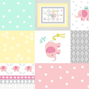 Elephant friends pink 42 - cheaters quilt modern pink polka dot