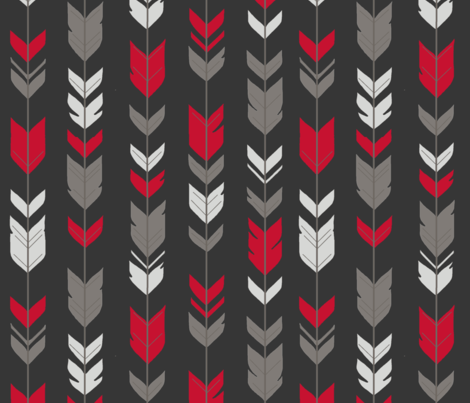 Arrow Feathers - bright red, grey on black fabric by sugarpinedesign on Spoonflower - custom fabric