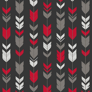 Arrow Feathers - bright red, grey on black