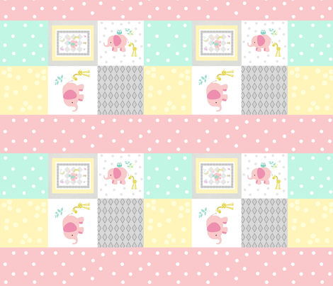 Elephant friends pink  - cheaters quilt pink polka dot stripes fabric by drapestudio on Spoonflower - custom fabric