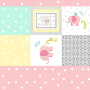 Elephant friends pink  - cheaters quilt pink polka dot stripes
