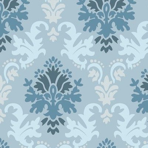 Grey Teal Damask