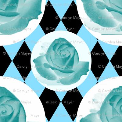 Teal Rose Fabric 11