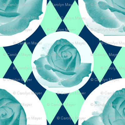 Teal Rose Fabric 13
