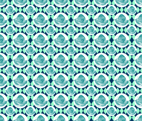 Teal Rose Fabric 13 fabric by cmay_designs on Spoonflower - custom fabric