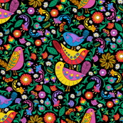 Folk Art Birds and Blooms