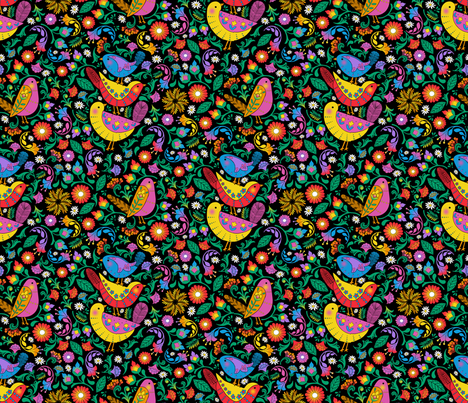 Folk Art Birds and Blooms fabric by j9design on Spoonflower - custom fabric