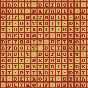 Detroit Letter Blocks - rouge and gold