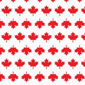 Canada Linen Maple Leafs White Grey Lines