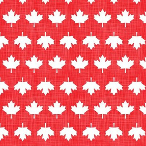 Canada Linen Maple Leafs Red White Lines