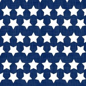 USA Linen Blue White Stars