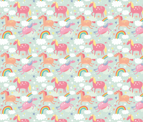 Small_Unicorn and Rainbow fabric by petitgriffin on Spoonflower - custom fabric