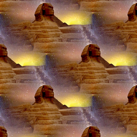 sphinx and milky way fabric by stofftoy on Spoonflower - custom fabric