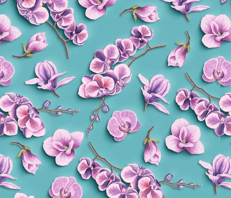 Orchids Flowers Paper Cut Effect fabric by sophiesdollslove on Spoonflower - custom fabric