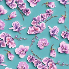 Orchids Flowers Paper Cut Effect