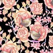 Birds'n'roses black