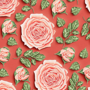 Coral Roses Flowers Paper Cut Effect