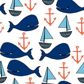 nautical whales fabric // whales, sailboats, anchors baby nursery design navy and orange fabric by andrea lauren