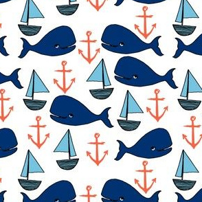 nautical whales fabric // baby nursery sailboat anchors baby design by andrea lauren