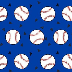 baseball fabric // royal blue and red baseball sports fabric