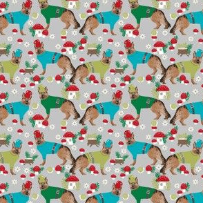 german shepherd fabric gnomes woodland fairy tale design - small print