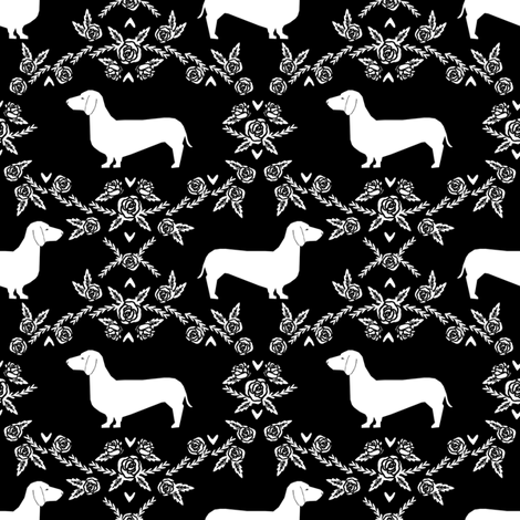 Dachshund floral dog silhouette dog breed fabric black fabric by petfriendly on Spoonflower - custom fabric