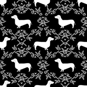 Dachshund floral dog silhouette dog breed fabric black