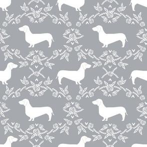 Dachshund floral dog silhouette dog breed fabric grey