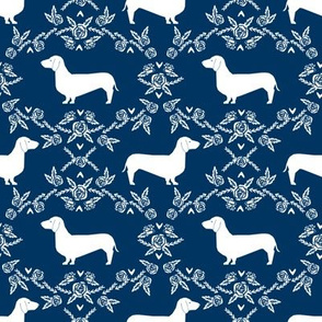 Dachshund floral dog silhouette dog breed fabric navy