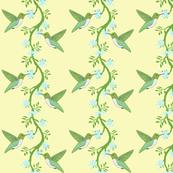 hummingbird & vine yellow stripe