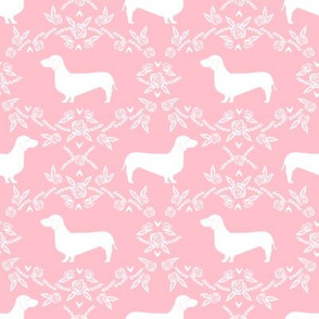 Dachshund floral dog silhouette dog breed fabric pink