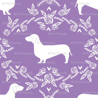Dachshund floral dog silhouette dog breed fabric purple