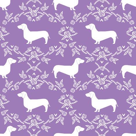 Dachshund floral dog silhouette dog breed fabric purple fabric by petfriendly on Spoonflower - custom fabric