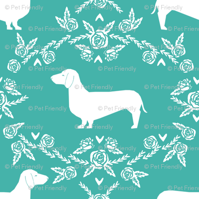 Dachshund floral dog silhouette dog breed fabric turquoise