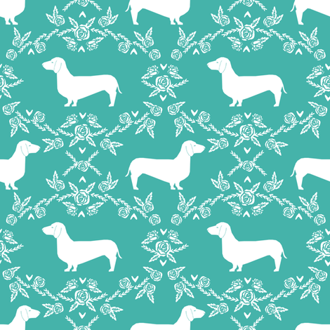 Dachshund floral dog silhouette dog breed fabric turquoise fabric by petfriendly on Spoonflower - custom fabric