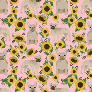 French Bulldog frenchie sunflowers floral dog silhouette dog breed fabric 1