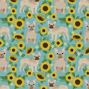 French Bulldog frenchie sunflowers floral dog silhouette dog breed fabric 2