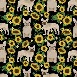 French Bulldog frenchie sunflowers floral dog silhouette dog breed fabric 3