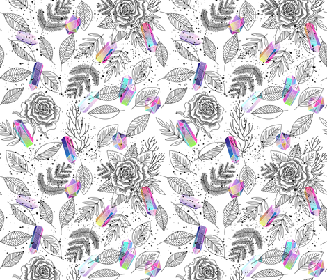 Crystals and roses fabric by marinademidova on Spoonflower - custom fabric