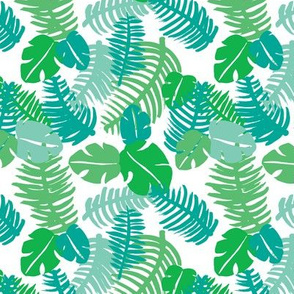 Tropical hawaiian jungle leaf design fresh green garden for summer green blue