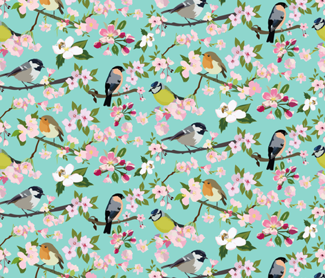 Blossom_and_Birds fabric by laurenthomasdesigns on Spoonflower - custom fabric