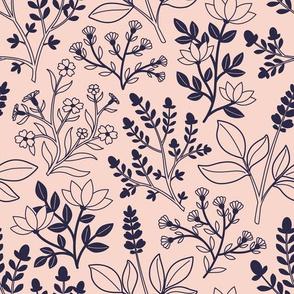 Blush Pink/Navy Floral