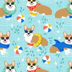 corgi pool party fabric cute dogs water park summer design - light blue
