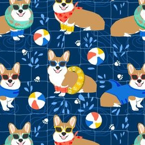 corgi pool party fabric cute dogs water park summer design -navy