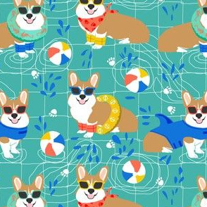 corgi pool party fabric cute dogs water park summer design - turquoise